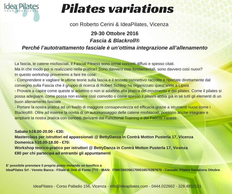 Pilates variations 29-30 Ottobre 2016