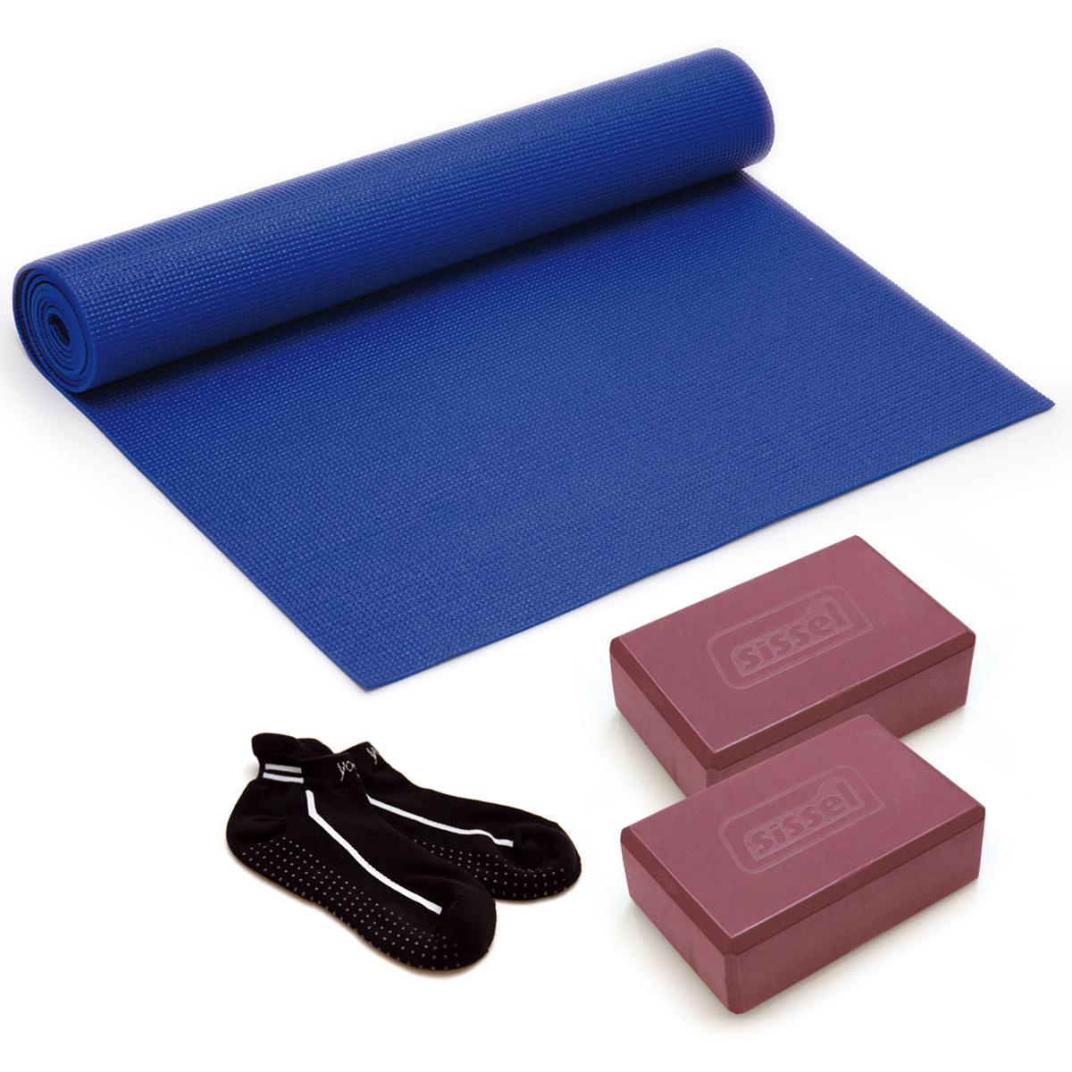 KIT YOGA: Calzini Yoga Socks, Materassino e 2 Blocchi
