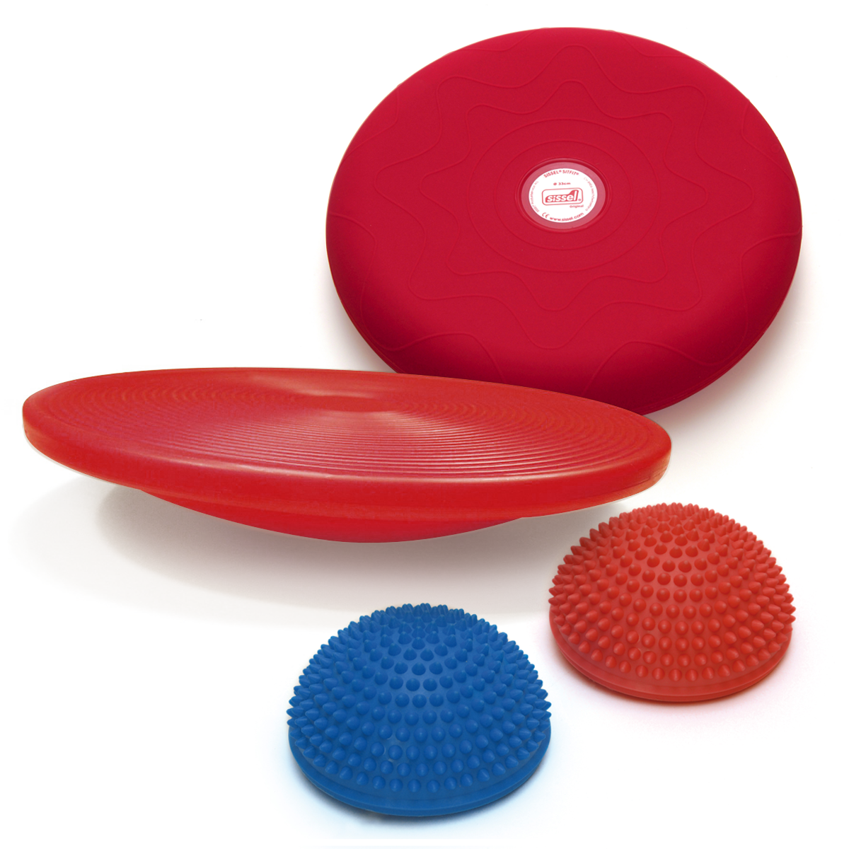 KIT EQUILIBRIO: Spiky Dome, Balanced Board e Sitfit 33 rosso