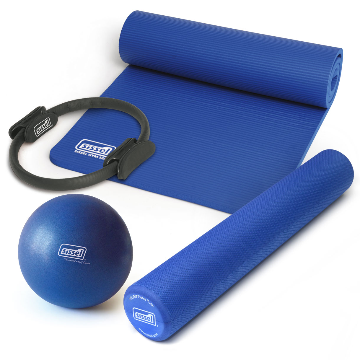 KIT PILATES CASA n°1 BLU: Circle, Soft Ball, Rullo e Materassino