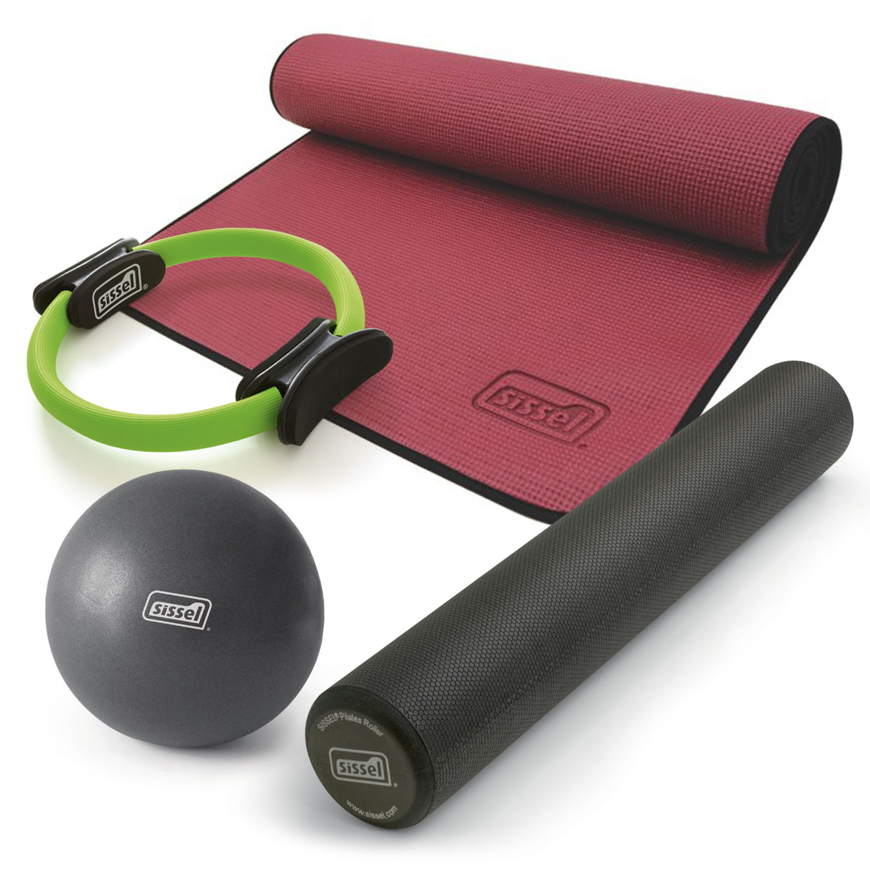 KIT PILATES CASA n°3 COMPACT: Circle, Soft Ball, Rullo e Materassino bordeaux