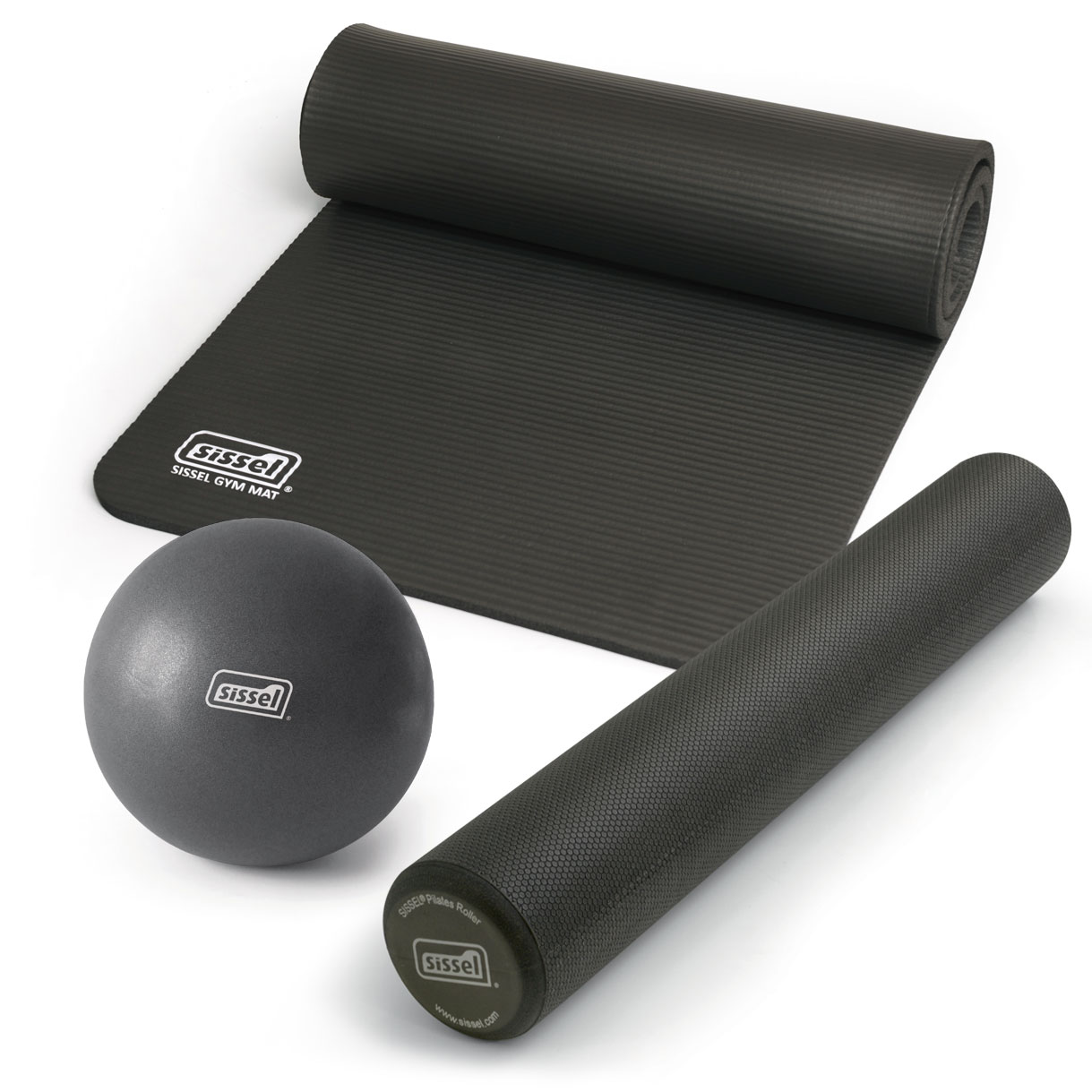 KIT PILATES CASA LITE PREMIUM ANTRACITE: Soft Ball, Rullo e Materassino