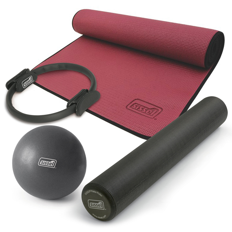 KIT PILATES CASA n°3: Circle, Soft Ball, Rullo e Materassino bordeaux