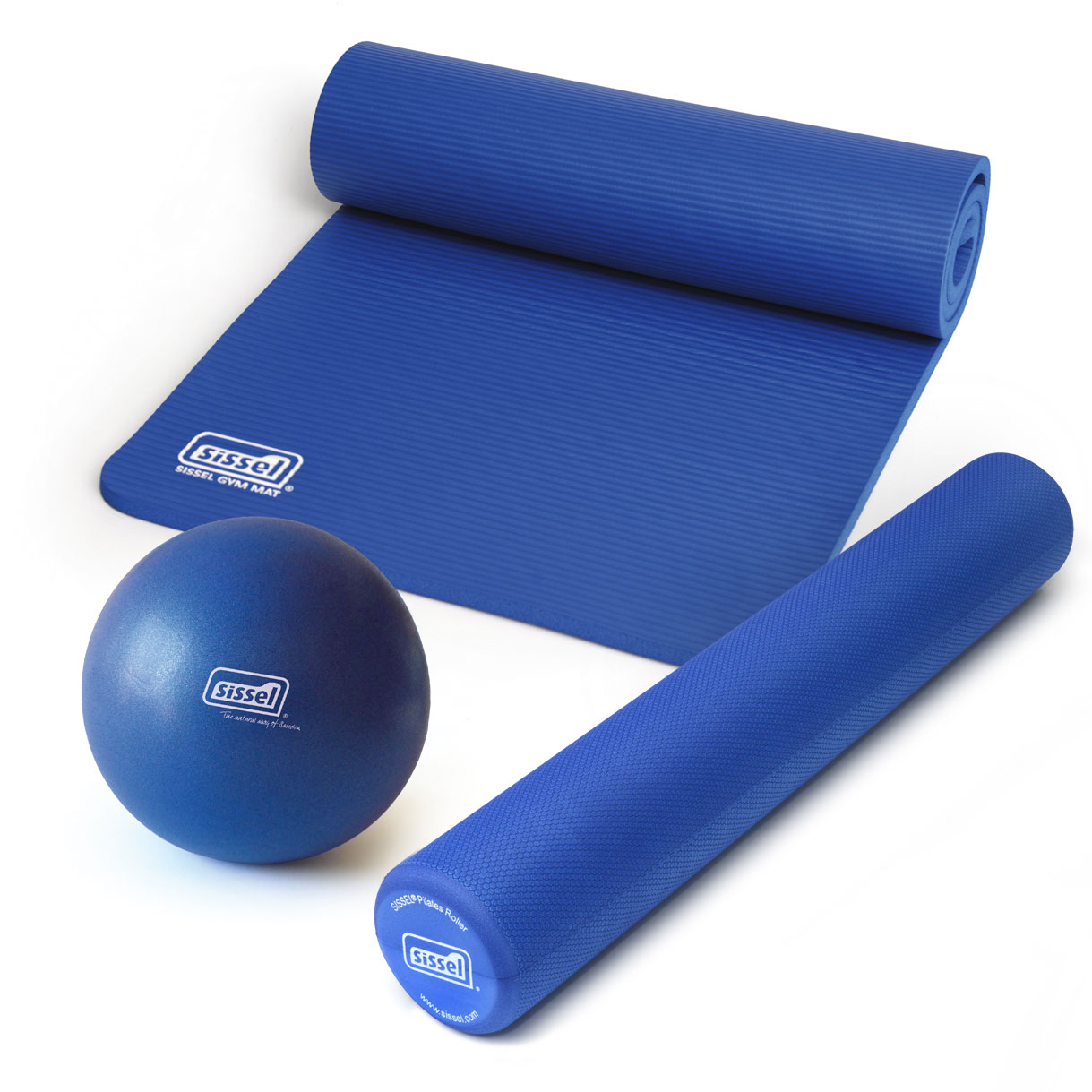 KIT PILATES CASA LITE PREMIUM BLU: Soft Ball, Rullo e Materassino