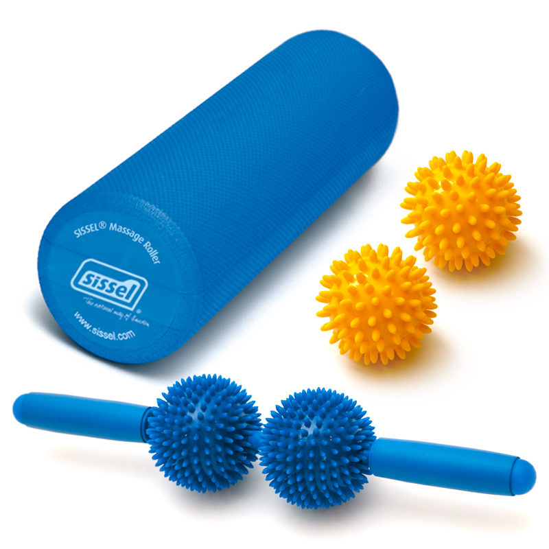 KIT MASSAGGIO: Spiky Twin Roller, Massage Roller e Spiky Ball Gialle