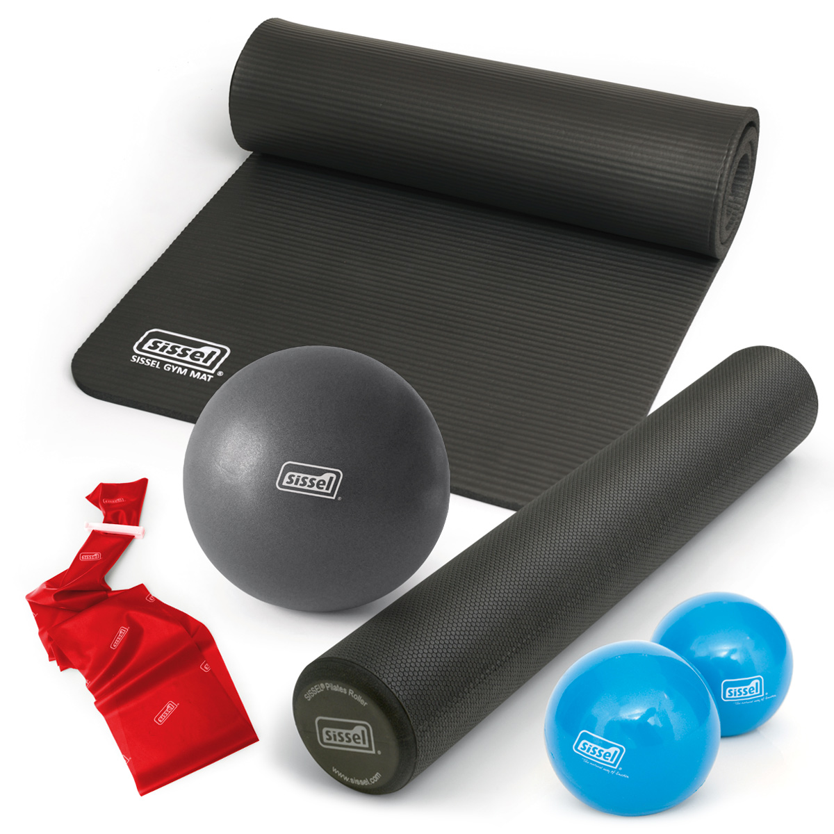 HOME KIT PILATES CASA  MAGAZZINO  ANTRACITE: Soft Ball, Rullo, Materassino, Toning Ball e Band